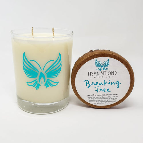 Breaking Free: Palm leaf, Seay Spray, Grapefruit  Soy Wax Candle GEMS nonprofit