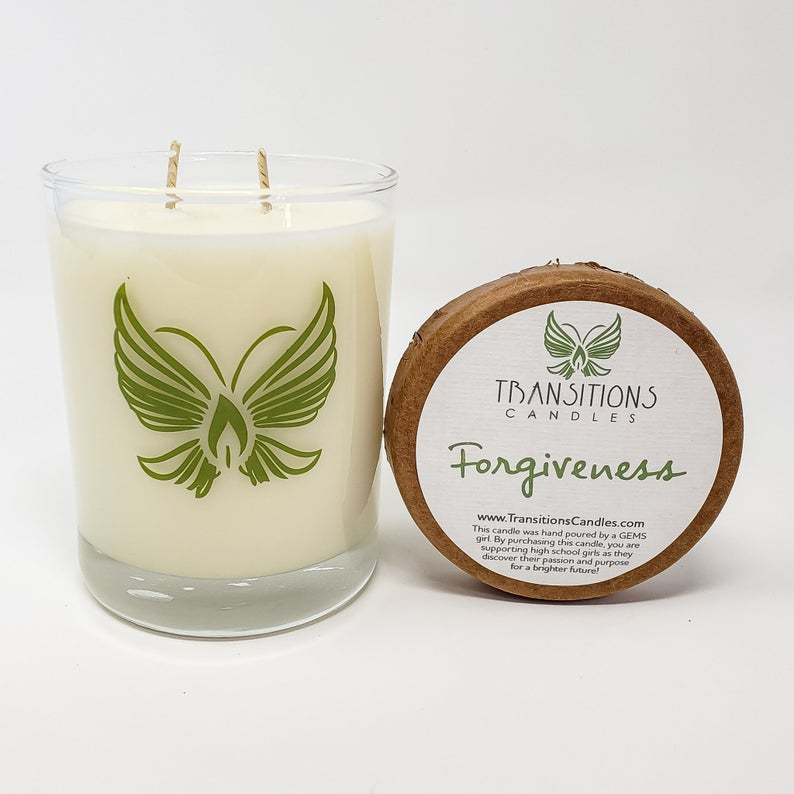 Forgiveness: Pineapple, Clover, Aloe, Green Tea GEMS candle for at risk girls