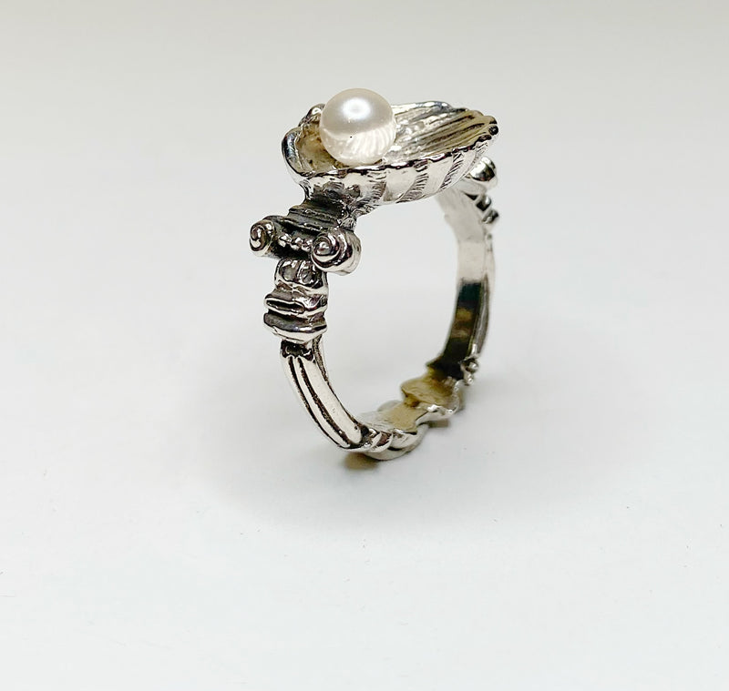 Birth of Venus Ring With White Vegan Pearl