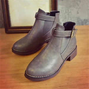 Autumn Leather Ankle Boots