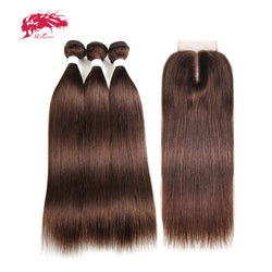 Brazilian Straight Remy Hair 3 Bundles With Lace Closure 4x4 Free/Middle Part #613/#4/#33/#30/#27/#99J/#Burg Ali Queen Hair