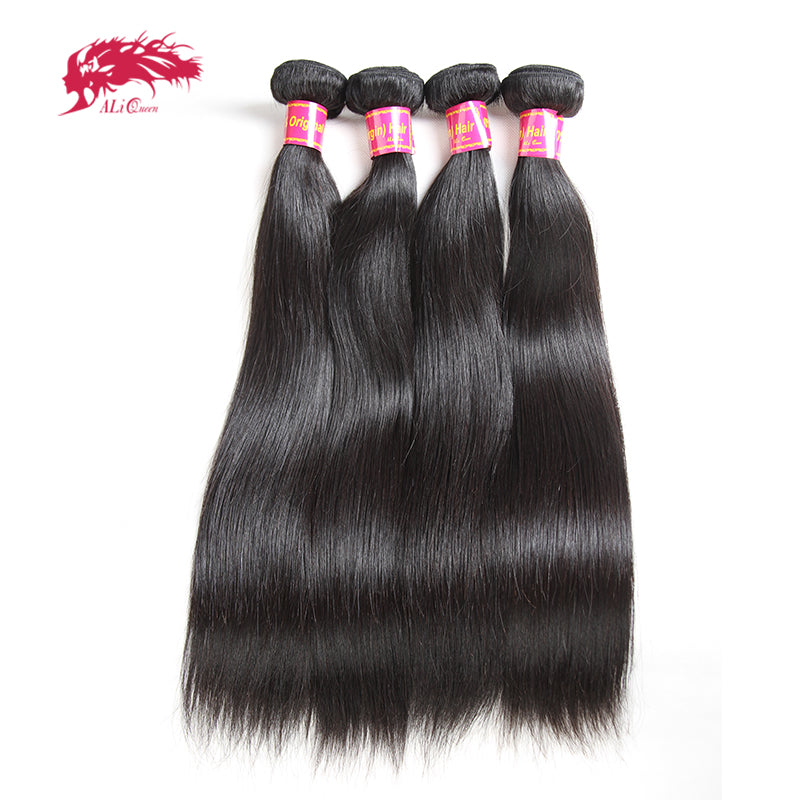 Ali Queen Hair Products Straight Brazilian Hair Weave Bundles 8