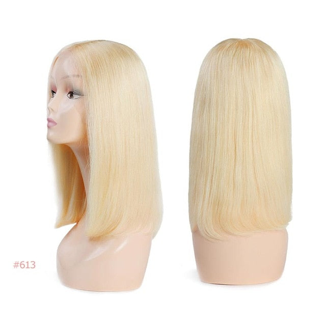 Brazilian Remy Hair Part Lace Wigs 130% Density Middle Part #1B/#613 Short Human Hair Wigs Ali Queen Hair Lace Front Wig 8
