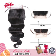 Ali Queen Hair Brazilian Body Wave Lace Closure Remy Hair Bundles 4*4 Swiss Lace with Baby Hair 130% density Free Shipping