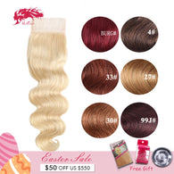 Ali Queen Hair Products Brazilian Remy Hair 4x4 Body Wave Hair Closure Middle/Free Part 10