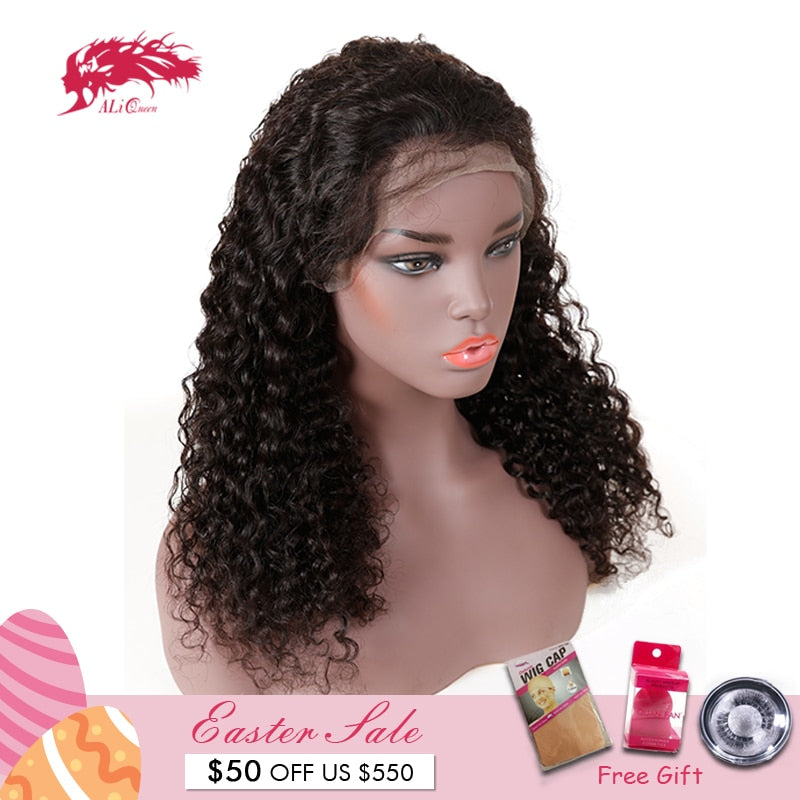 Ali Queen Brazilian Water Wave Remy Baby Hair Lace Wigs
