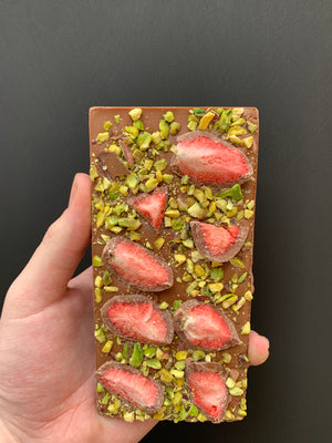 MILK CHOC STRAWBERRY & PISTACHIO BLOCK