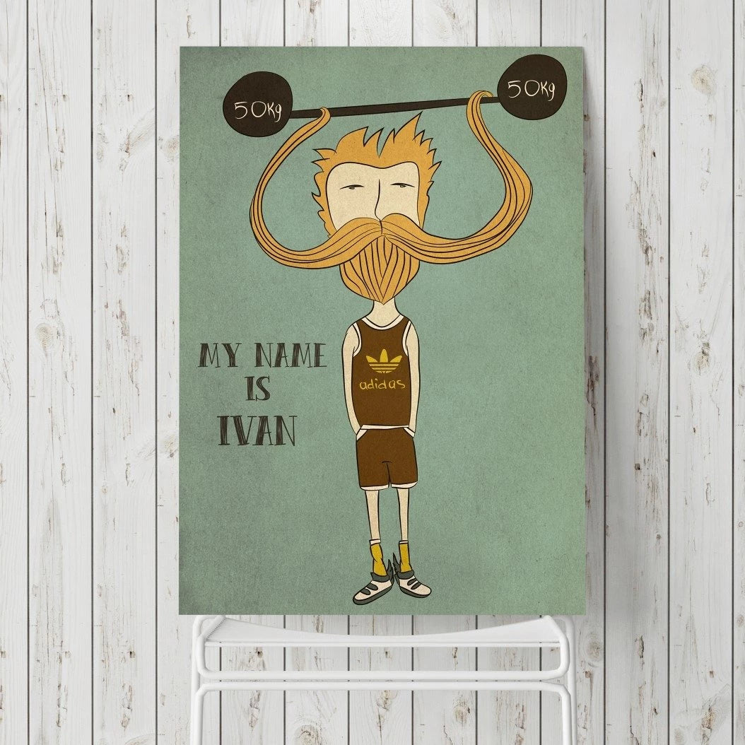 Russian bearded hipster print.
