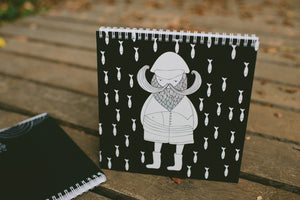 Black and white square spiral notebook