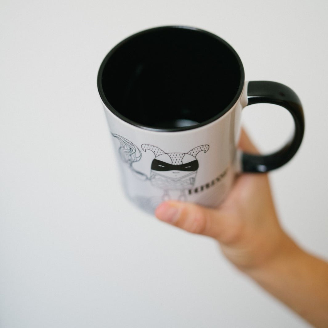 Black and white depresso coffee mug.