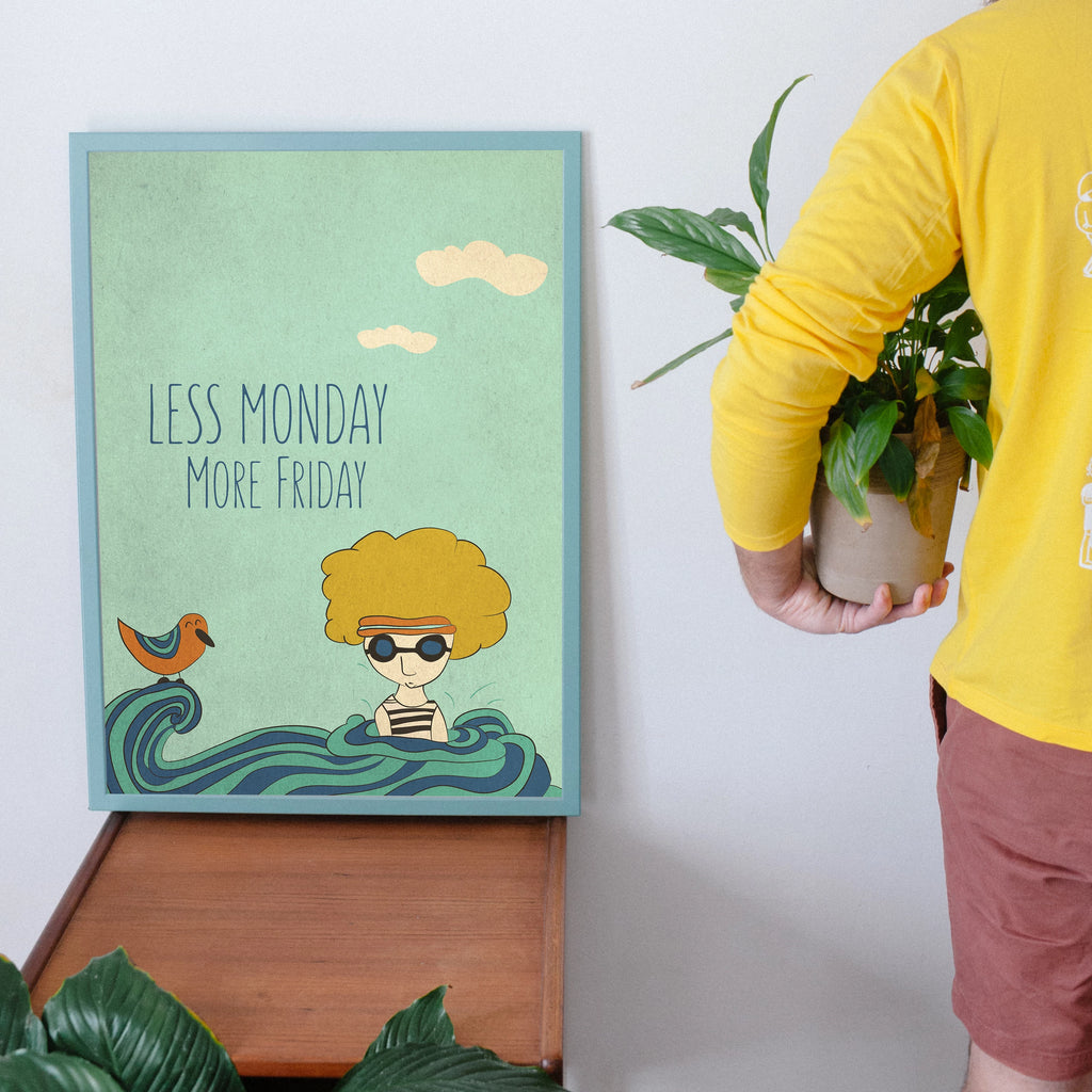 Less Monday more Friday. Cute illustration with inspirational quote