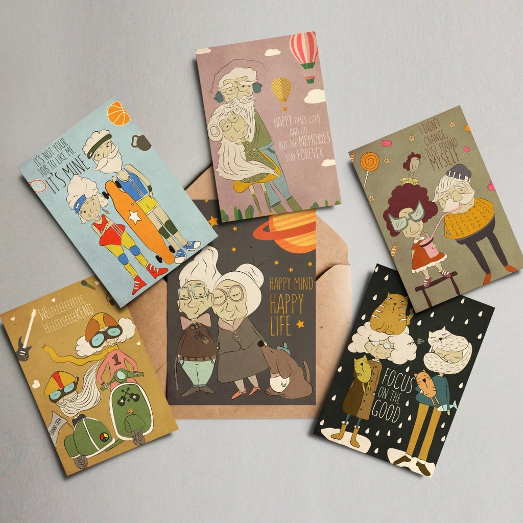 Happy grannies cards set.