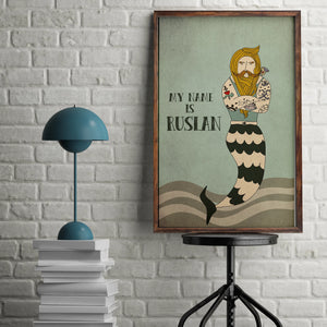 Bearded male mermaid print.