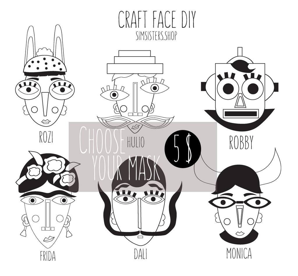 Cardboard masks DIY pattern