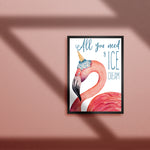Flamingo cute print. All you need is ice cream