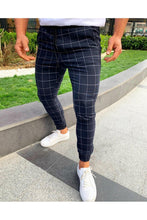 Load image into Gallery viewer, 2019 Men's Black Square Plaid Casual Pants