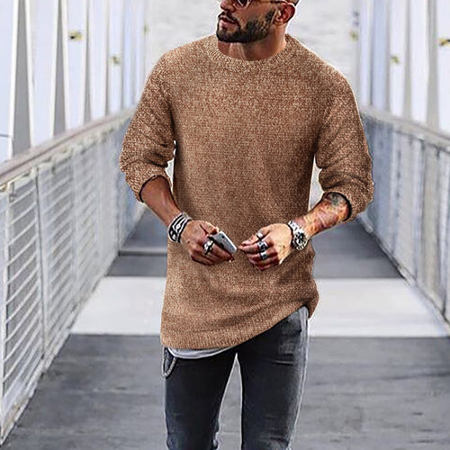 Fashion Mens Casual Round Neck Solid Color Sweaters