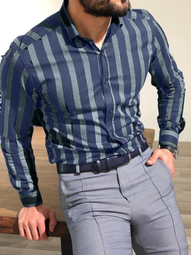 New Large Size Men's Denim Cotton Striped Lapel Shirt
