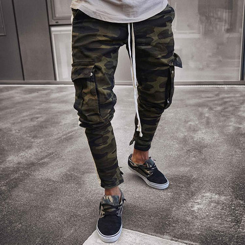 Casual Camouflage Printed Slim Multiple Packets Jeans Pants