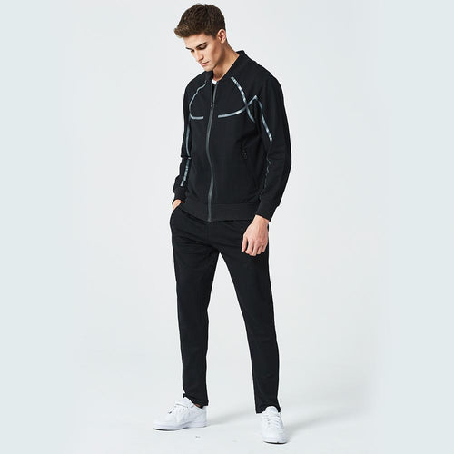Casual Lapel Collar Plain Zipper Baseball Coat Pants Suit