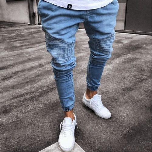 Fashion Pure Color Loose Ripped Jeans Pants