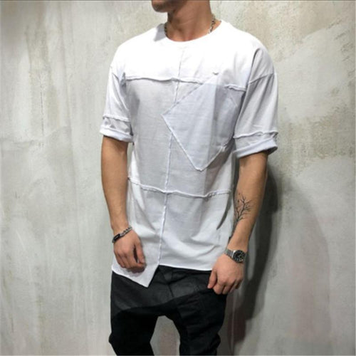 Stylish Splicing Round Collar Slanted Pocket Short Sleeve T-Shirt