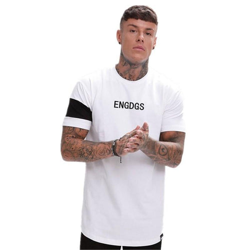 Round Neck Short Sleeve Solid   Color Stitching T-Shirt
