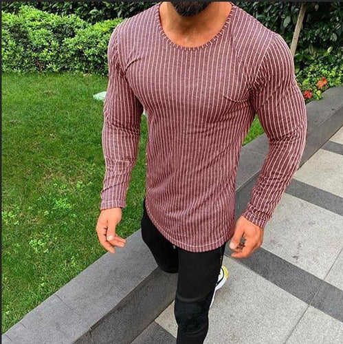 Men's Long Sleeve T-Shirt With Slim Vertical Stripe Sleeves