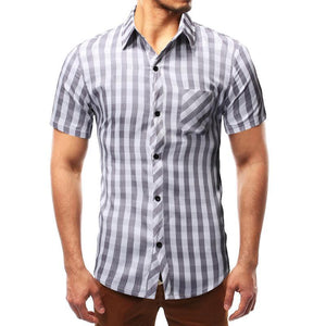 Check Short Sleeve Turndown Collar Patch Pocket Shirts