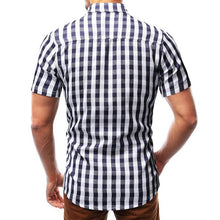 Load image into Gallery viewer, Check Short Sleeve Turndown Collar Patch Pocket Shirts