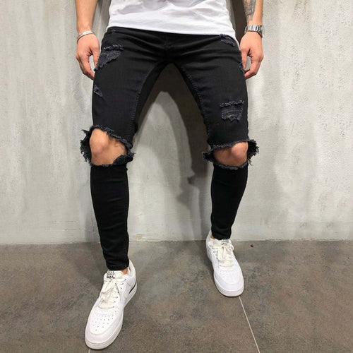 Men's Knee Hole Jeans Zipper Youth Slim Stretch Slim-Fit Pants