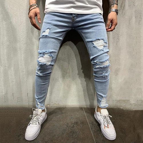 Fashion Broken Hole Washed Light Blue Ripped Jeans