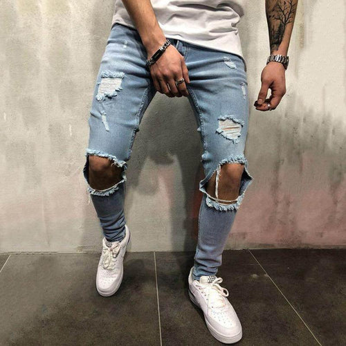 Men's Fashion Ripped Jeans Trousers Slim-Fit Pants