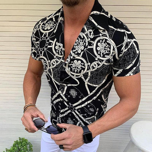 Men's Summer Black Lapel Short-Sleeved Printed Shirts