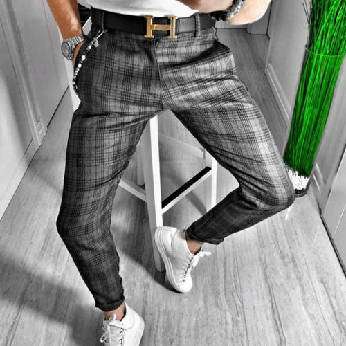 Men's Plaid Casual Pencil Pants