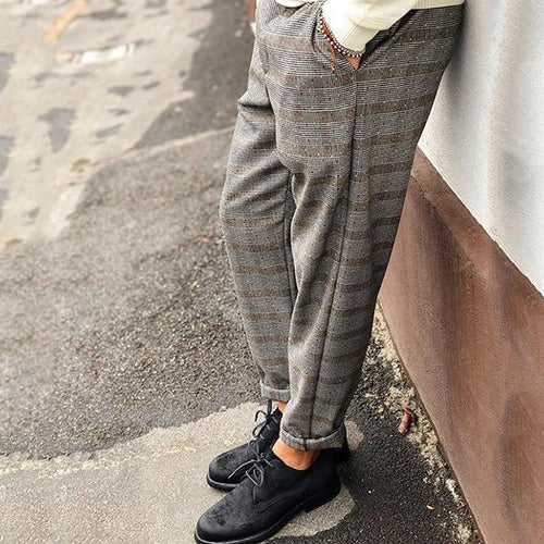 Men's Plaid Printed Casual Pencil Pants