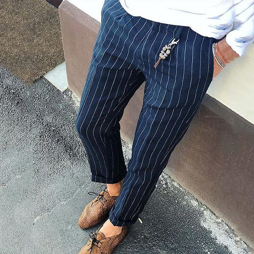 Men's Mid-Waist Fine Striped Casual Pants