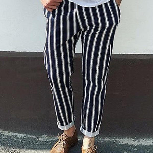 Men's Middle Waist Fine Striped Casual Pencil Pants