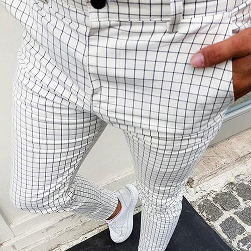 Men's Mid-Waist Plaid Casual Pencil Pants