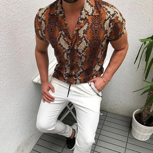 Minimalist Men's Fashion Python Print Casual Shirts
