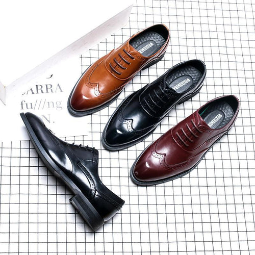 British Breathable Fashion Pointed Lace Men's Shoes