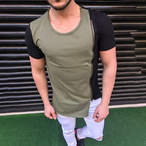 Men's Summer Casual Stitching Solid Color T-Shirt