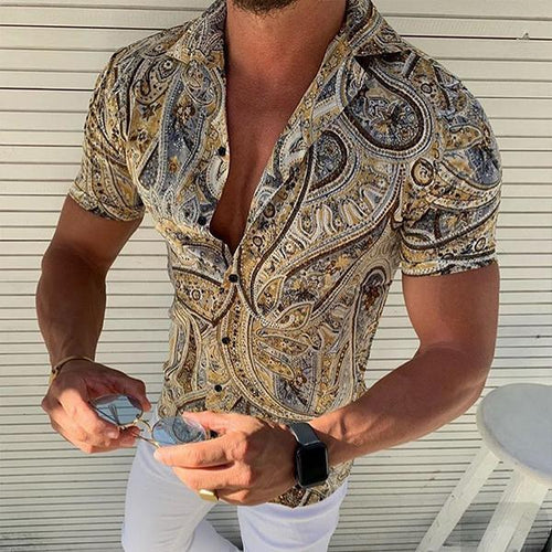 Minimalist Men's Fashion Print Short Sleeve Slim Shirts