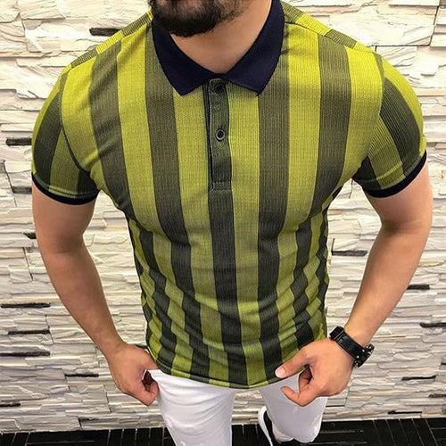 Minimalist Men's Fashion Colorblock Striped Lapel T-Shirt