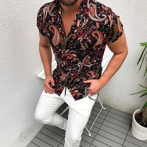 Minimalist Men's Fashion Urban Style Printed Casual Shirts