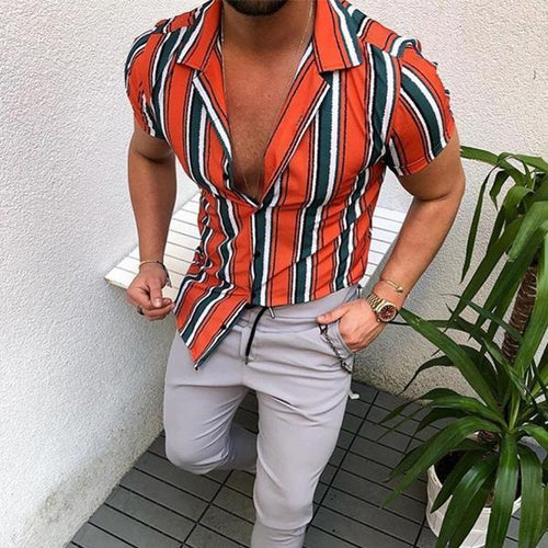 Minimalist Men's Fashion Colorblock Striped Short Sleeve Shirts