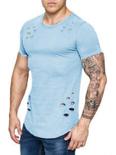 Load image into Gallery viewer, Men's Loose, Ripped, Large-Size, Solid-Color T-Shirts