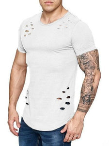 Men's Loose, Ripped, Large-Size, Solid-Color T-Shirts
