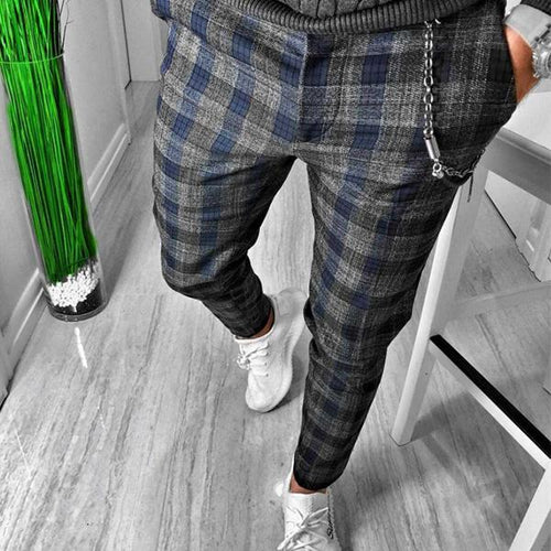 Men's Plaid Printed Casual Pants
