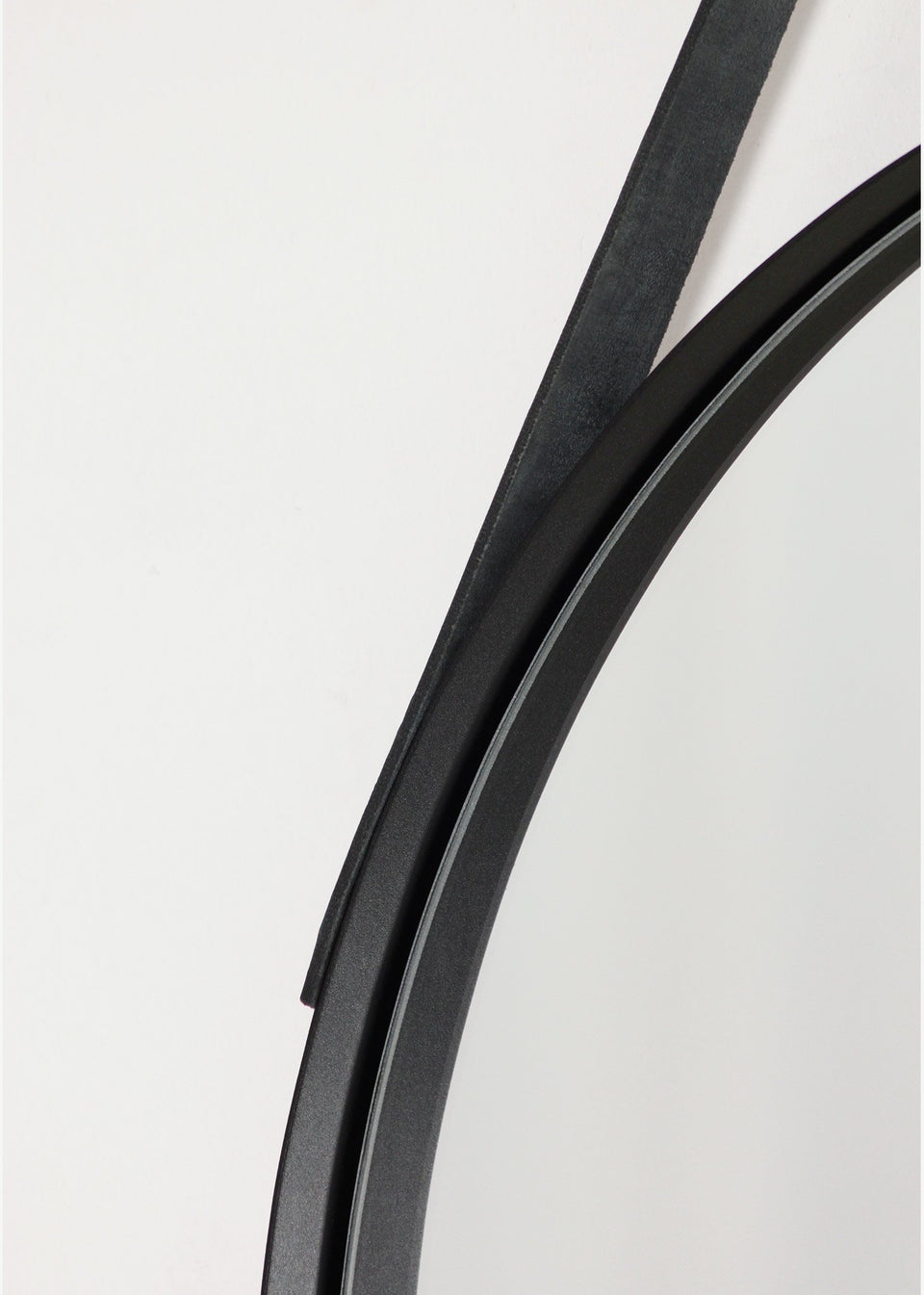 Leather Strap Deep Frame Circular Mirrors